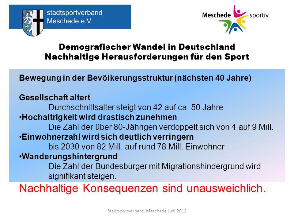 Demografischer Wandel in Deutschland Nachhaltige Herausforderungen für den Sport Die Herausforderung: An den richtigen Stellschrauben drehen Stadtsportverband Meschede Juni 2012