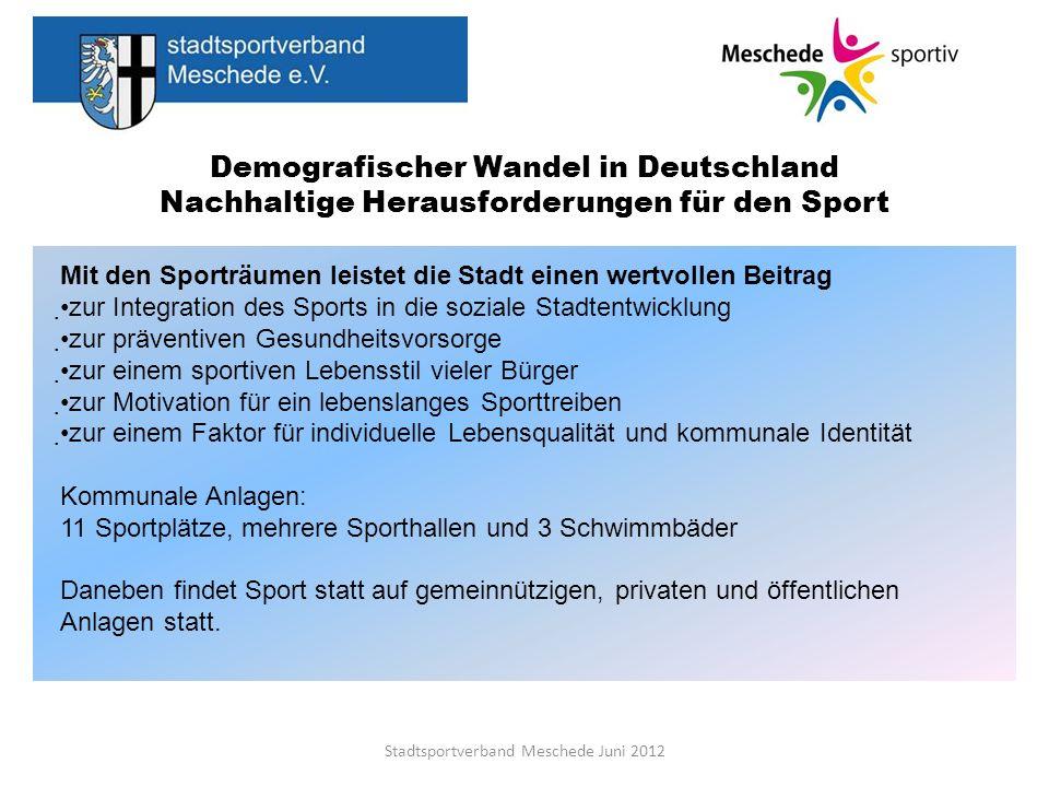 Demografischer Wandel in Deutschland Nachhaltige Herausforderungen für den Sport Stadtsportverband Meschede Juni 2012 Mit den Sporträumen leistet die
