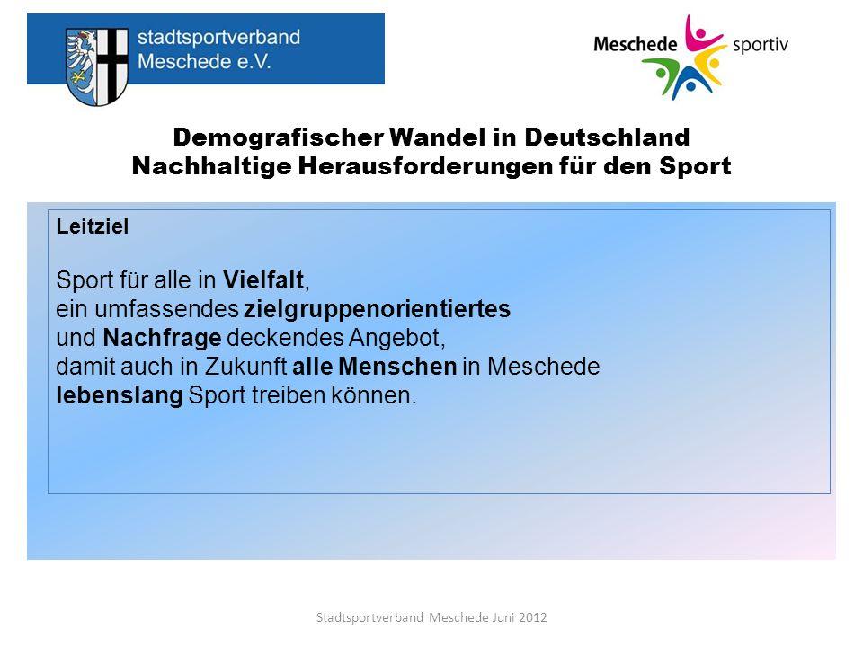 Demografischer Wandel in Deutschland Nachhaltige Herausforderungen für den Sport Stadtsportverband Meschede Juni 2012 Leitziel Sport für alle in Vielf