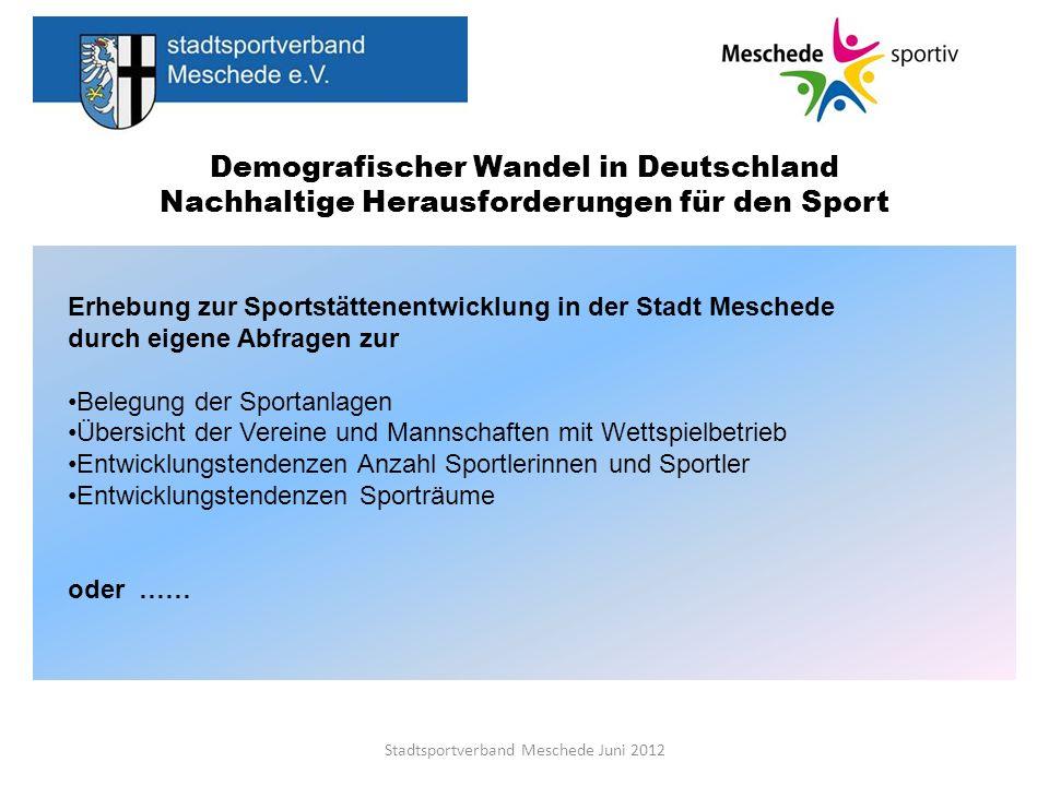 Demografischer Wandel in Deutschland Nachhaltige Herausforderungen für den Sport Stadtsportverband Meschede Juni 2012 Erhebung zur Sportstättenentwick