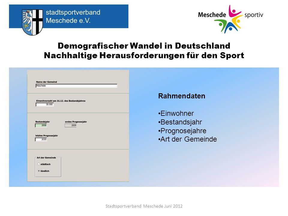 Demografischer Wandel in Deutschland Nachhaltige Herausforderungen für den Sport Stadtsportverband Meschede Juni 2012 Rahmendaten Einwohner Bestandsja