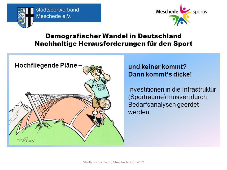 Demografischer Wandel in Deutschland Nachhaltige Herausforderungen für den Sport Stadtsportverband Meschede Juni 2012 Entwicklung attraktiver und funktionsgerechter Sporträume planen für die Grundversorgung, Freizeitsport, Breitensport, Leistungssport gewissenhafter Bestandsaufnahme und Perspektive evtl.