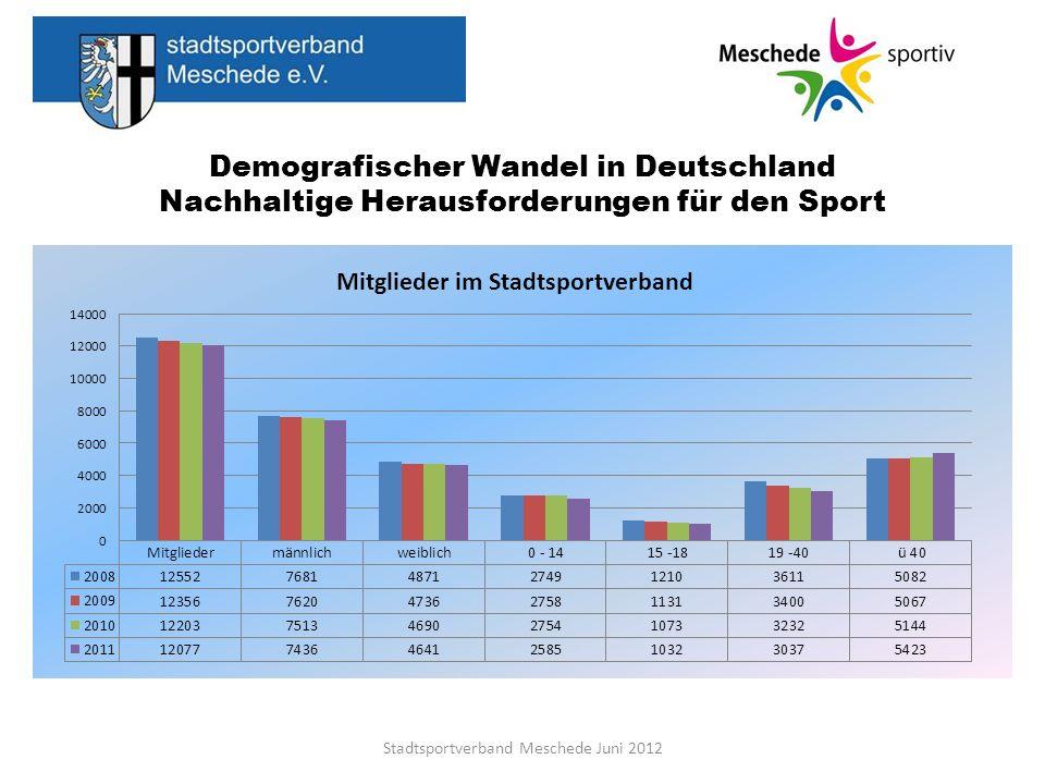 Demografischer Wandel in Deutschland Nachhaltige Herausforderungen für den Sport Stadtsportverband Meschede Juni 2012 Hinweise zur Bewertung der Mitgliederauswertung im Stadtsportverband Meschede Reliabilität, Validität und Objektivität sind entscheidende Aspekte für repräsentative Aussagen, da sie die Basis für zuverlässige, verwertbare und eindeutige Auswertungen sind.