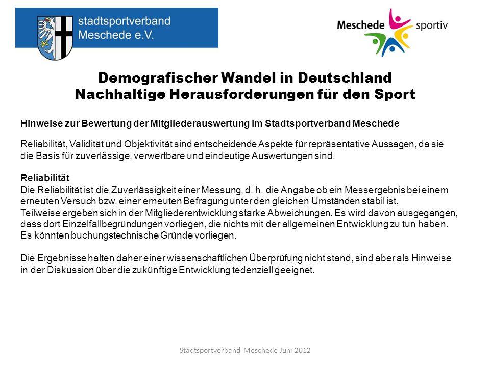 Demografischer Wandel in Deutschland Nachhaltige Herausforderungen für den Sport Stadtsportverband Meschede Juni 2012 Hinweise zur Bewertung der Mitgl
