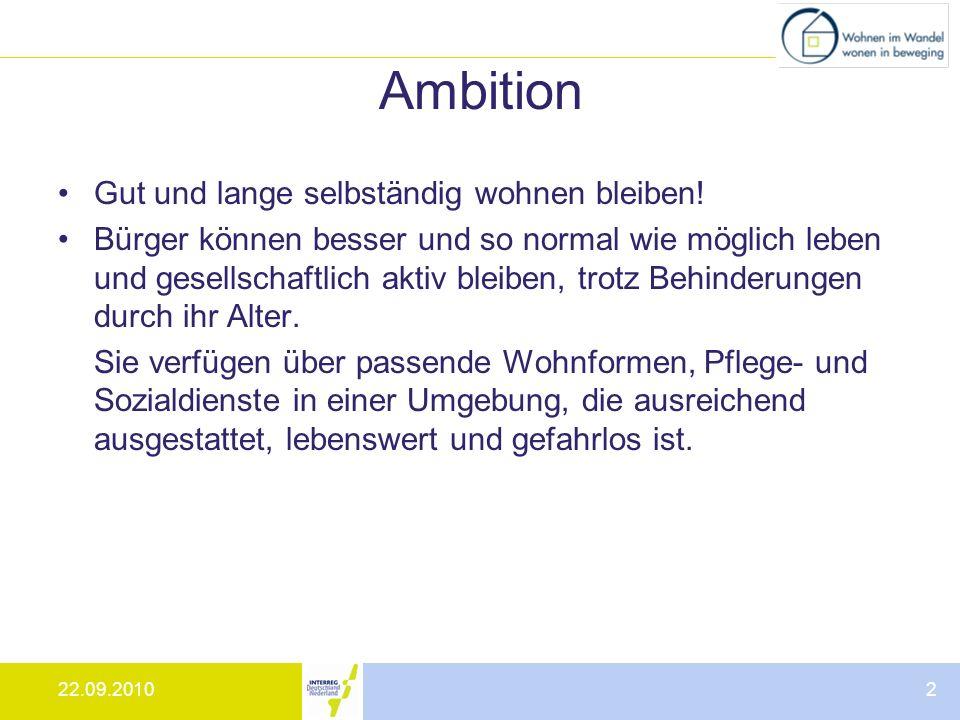 22.09.20102 Ambition Gut und lange selbständig wohnen bleiben! Bürger können besser und so normal wie möglich leben und gesellschaftlich aktiv bleiben