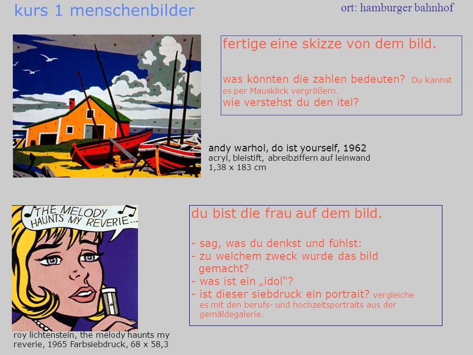 andy warhol, do ist yourself, 1962 acryl, bleistift, abreibziffern auf leinwand 1,38 x 183 cm ort: hamburger bahnhof roy lichtenstein, the melody haun