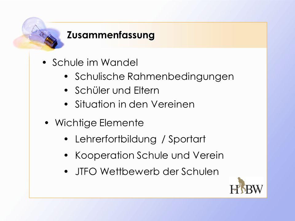 Zusammenfassung Schule im Wandel JTFO Wettbewerb der Schulen Schüler und Eltern Situation in den Vereinen Kooperation Schule und Verein Schulische Rah