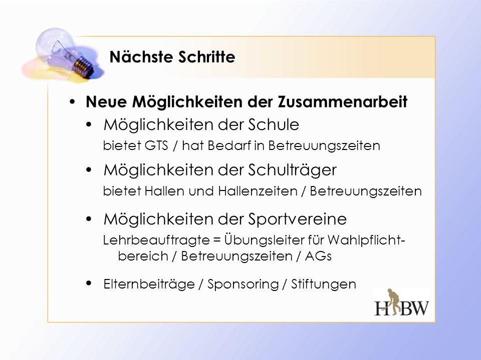 Nächste Schritte Neue Möglichkeiten der Zusammenarbeit Möglichkeiten der Schulträger Möglichkeiten der Sportvereine Elternbeiträge / Sponsoring / Stif