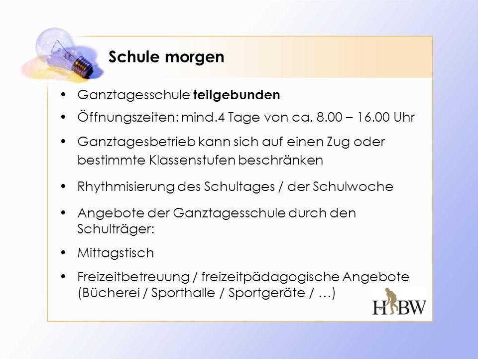 Schule morgen Ganztagesschule teilgebunden Öffnungszeiten: mind.4 Tage von ca. 8.00 – 16.00 Uhr Ganztagesbetrieb kann sich auf einen Zug oder bestimmt