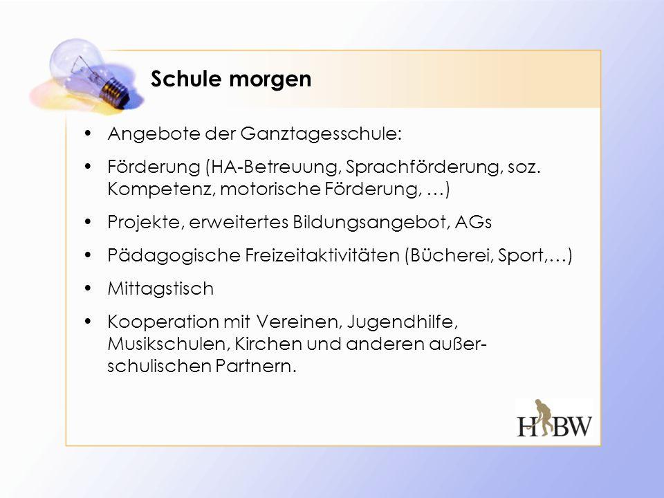 Schule morgen Angebote der Ganztagesschule: Förderung (HA-Betreuung, Sprachförderung, soz. Kompetenz, motorische Förderung, …) Projekte, erweitertes B