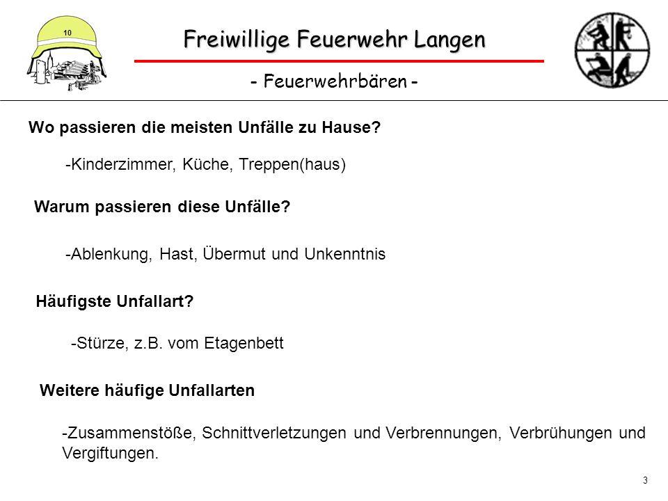 Freiwillige Feuerwehr Langen - Feuerwehrbären - 10 3 Wo passieren die meisten Unfälle zu Hause? -Kinderzimmer, Küche, Treppen(haus) Warum passieren di