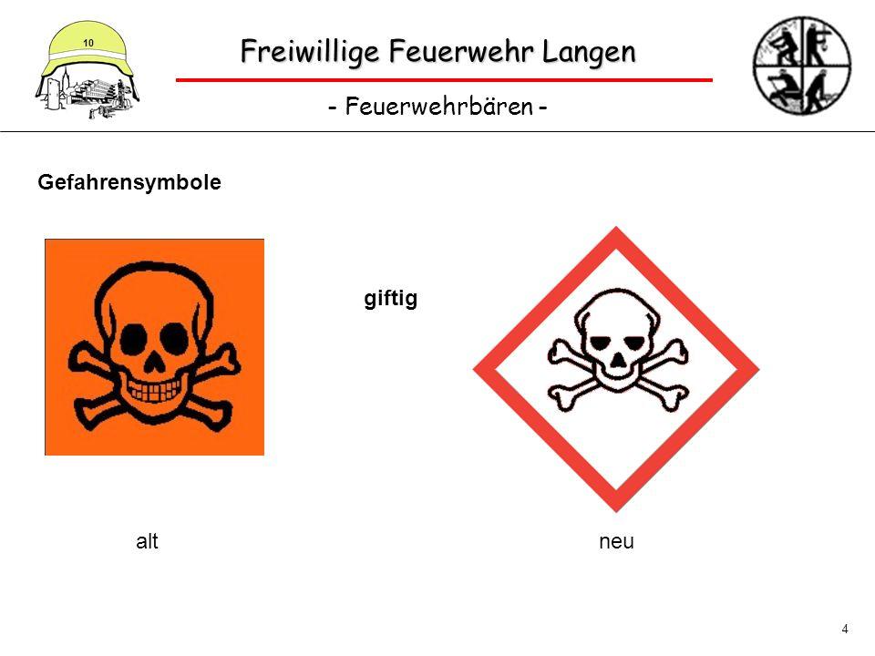 Freiwillige Feuerwehr Langen - Feuerwehrbären - 10 4 Gefahrensymbole giftig altneu