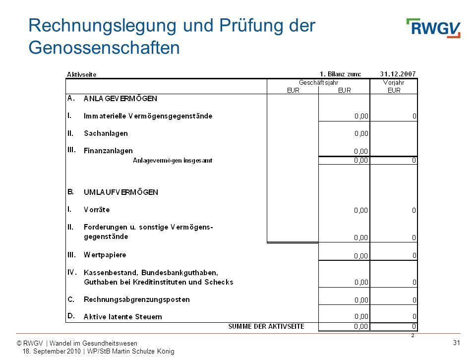 31 © RWGV | Wandel im Gesundheitswesen 18. September 2010 | WP/StB Martin Schulze König Rechnungslegung und Prüfung der Genossenschaften