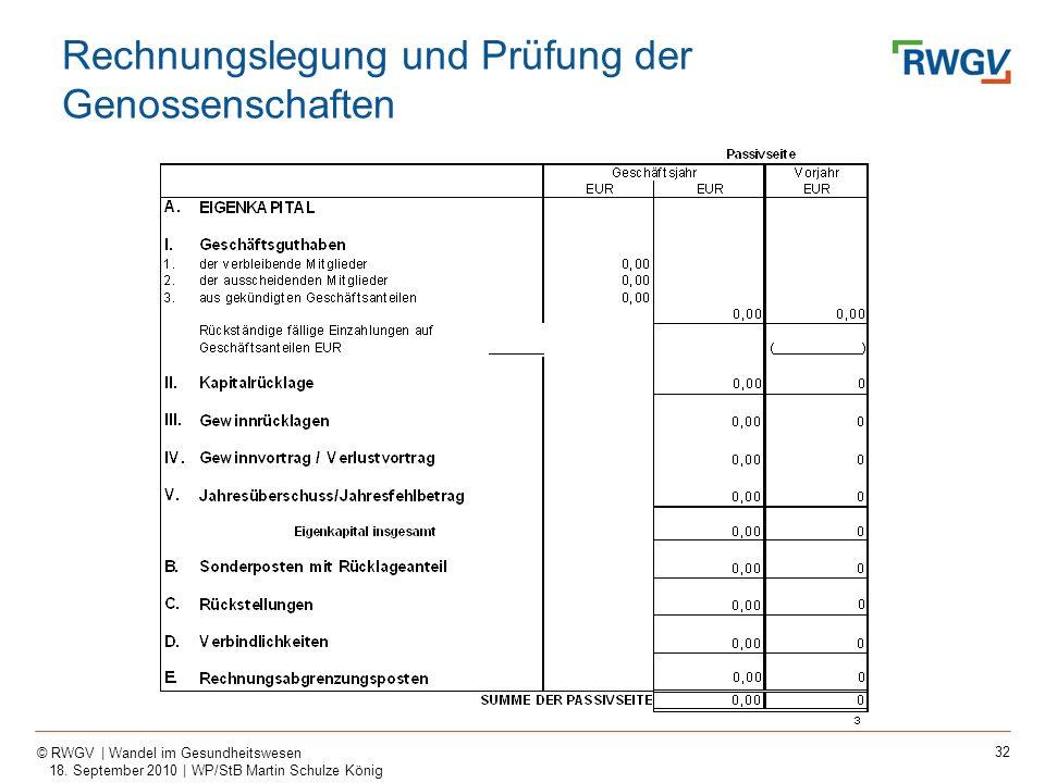 32 © RWGV | Wandel im Gesundheitswesen 18. September 2010 | WP/StB Martin Schulze König Rechnungslegung und Prüfung der Genossenschaften