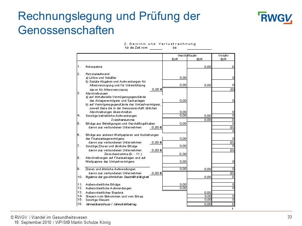 33 © RWGV | Wandel im Gesundheitswesen 18. September 2010 | WP/StB Martin Schulze König Rechnungslegung und Prüfung der Genossenschaften