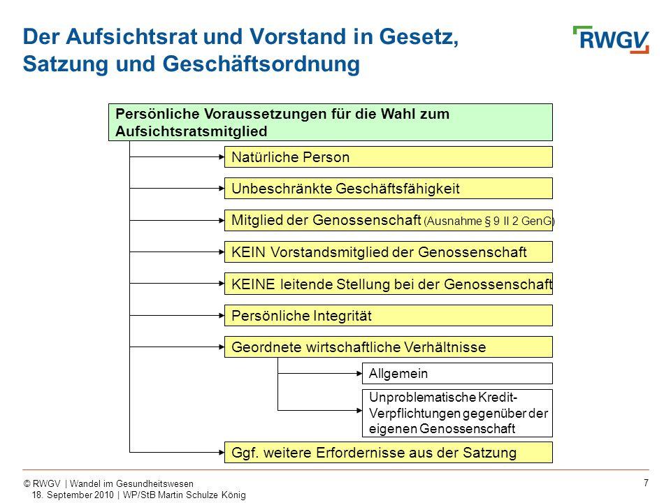 7 © RWGV | Wandel im Gesundheitswesen 18. September 2010 | WP/StB Martin Schulze König Persönliche Voraussetzungen für die Wahl zum Aufsichtsratsmitgl
