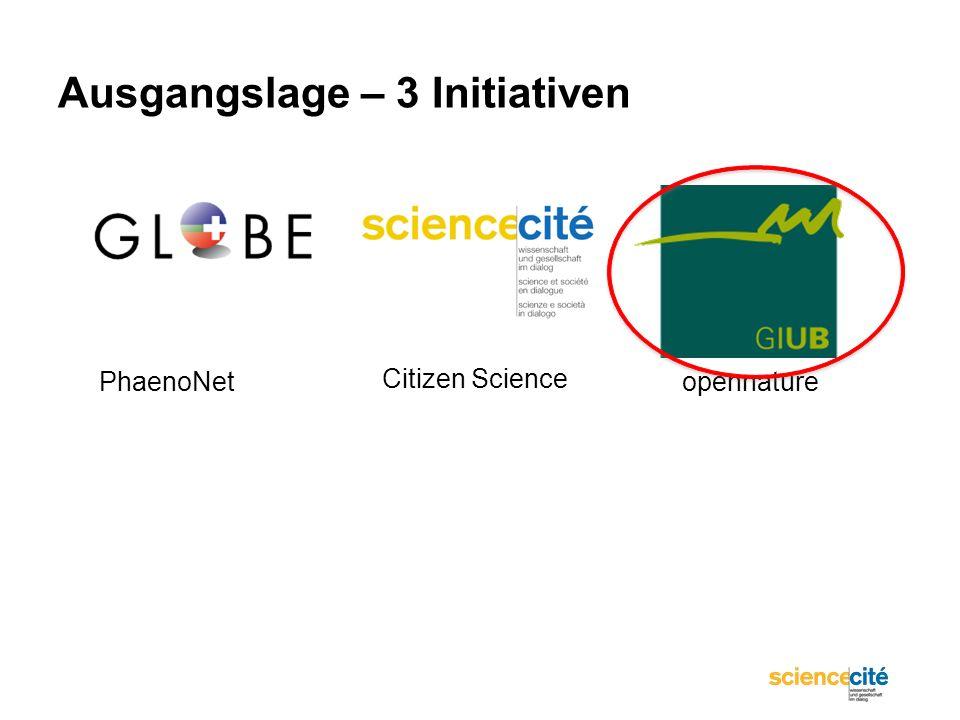 Ausgangslage – 3 Initiativen PhaenoNetopennature Citizen Science
