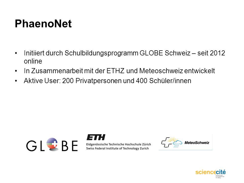 PhaenoNet Initiiert durch Schulbildungsprogramm GLOBE Schweiz – seit 2012 online In Zusammenarbeit mit der ETHZ und Meteoschweiz entwickelt Aktive Use