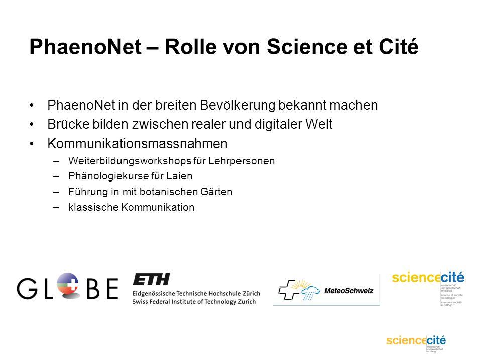 PhaenoNet – Rolle von Science et Cité PhaenoNet in der breiten Bevölkerung bekannt machen Brücke bilden zwischen realer und digitaler Welt Kommunikati