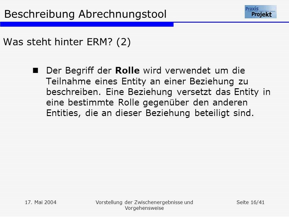Beschreibung Abrechnungstool 17. Mai 2004Vorstellung der Zwischenergebnisse und Vorgehensweise Seite 16/41 Was steht hinter ERM? (2) Der Begriff der R