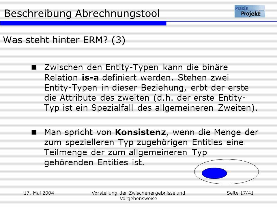 Beschreibung Abrechnungstool 17. Mai 2004Vorstellung der Zwischenergebnisse und Vorgehensweise Seite 17/41 Was steht hinter ERM? (3) Zwischen den Enti