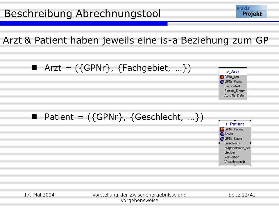 Beschreibung Abrechnungstool 17. Mai 2004Vorstellung der Zwischenergebnisse und Vorgehensweise Seite 22/41 Arzt & Patient haben jeweils eine is-a Bezi