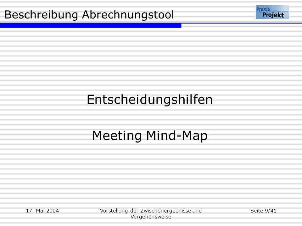 Beschreibung Abrechnungstool 17. Mai 2004Vorstellung der Zwischenergebnisse und Vorgehensweise Seite 9/41 Entscheidungshilfen Meeting Mind-Map