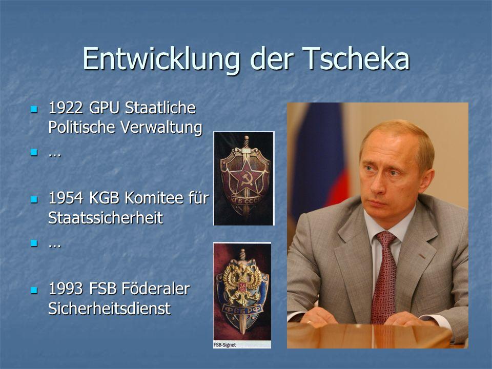 Entwicklung der Tscheka 1922 GPU Staatliche Politische Verwaltung 1922 GPU Staatliche Politische Verwaltung … 1954 KGB Komitee für Staatssicherheit 19