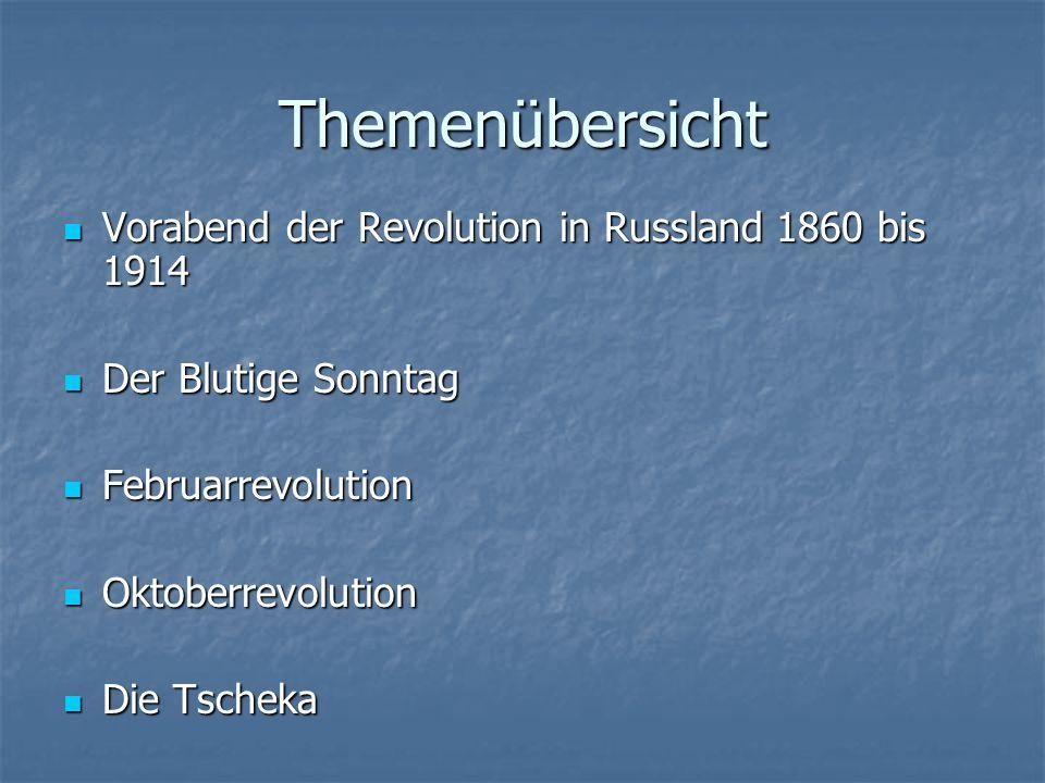 Themenübersicht Vorabend der Revolution in Russland 1860 bis 1914 Vorabend der Revolution in Russland 1860 bis 1914 Der Blutige Sonntag Der Blutige Sonntag Februarrevolution Februarrevolution Oktoberrevolution Oktoberrevolution Die Tscheka Die Tscheka