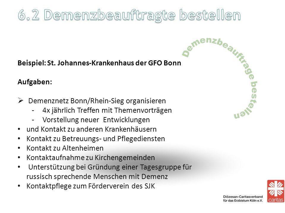 Beispiel: St. Johannes-Krankenhaus der GFO Bonn Aufgaben: Demenznetz Bonn/Rhein-Sieg organisieren -4x jährlich Treffen mit Themenvorträgen -Vorstellun