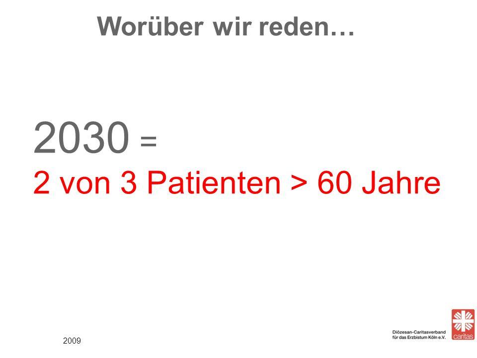 Worüber wir reden… 2009 2030 = 2 von 3 Patienten > 60 Jahre