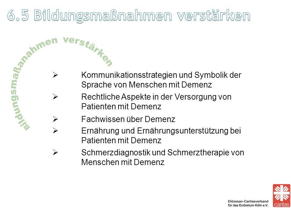 Kommunikationsstrategien und Symbolik der Sprache von Menschen mit Demenz Rechtliche Aspekte in der Versorgung von Patienten mit Demenz Fachwissen übe