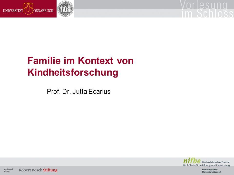 Familie im Kontext von Kindheitsforschung Prof. Dr. Jutta Ecarius