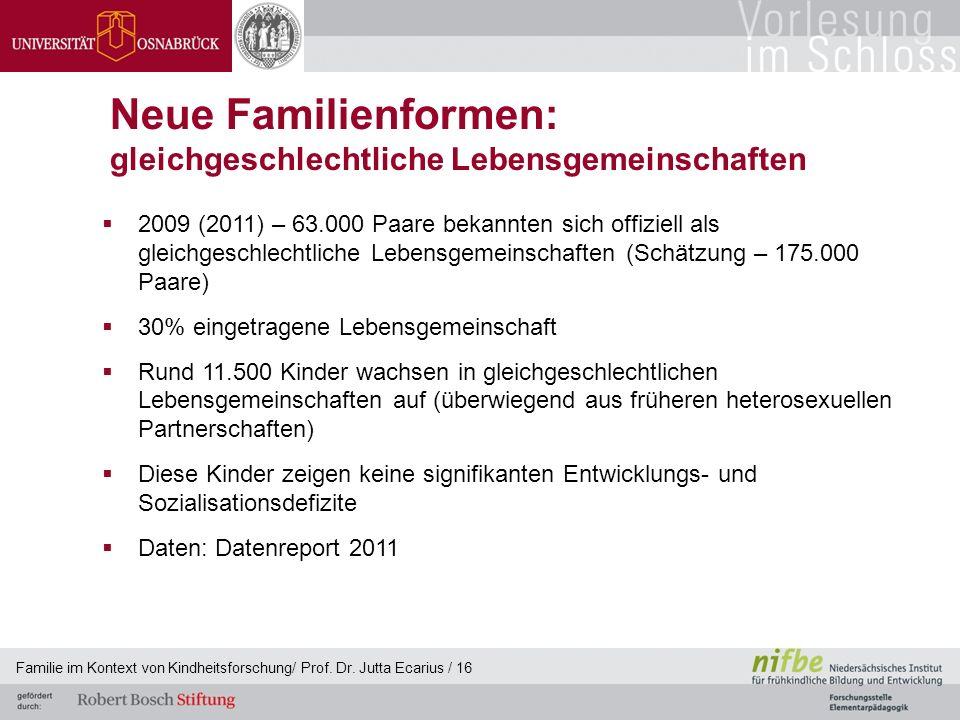 Familie im Kontext von Kindheitsforschung/ Prof. Dr. Jutta Ecarius / 16 Neue Familienformen: gleichgeschlechtliche Lebensgemeinschaften 2009 (2011) –