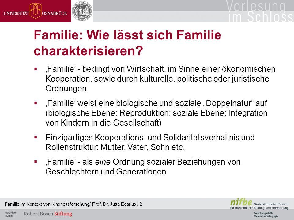 Familie im Kontext von Kindheitsforschung/ Prof. Dr. Jutta Ecarius / 2 Familie: Wie lässt sich Familie charakterisieren? Familie - bedingt von Wirtsch