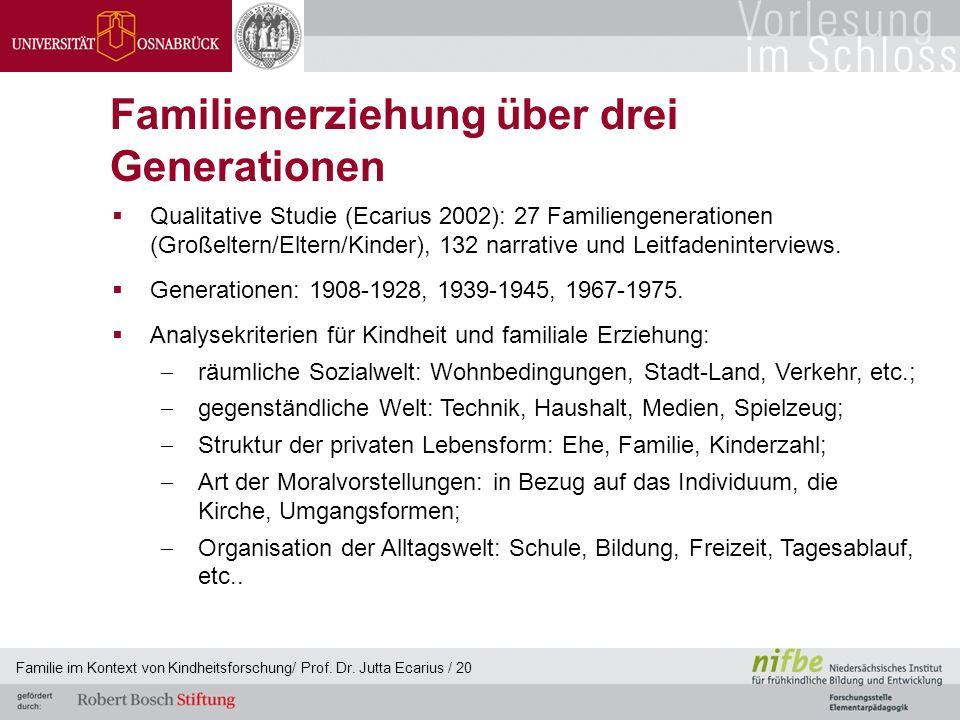 Familie im Kontext von Kindheitsforschung/ Prof. Dr. Jutta Ecarius / 20 Familienerziehung über drei Generationen Qualitative Studie (Ecarius 2002): 27
