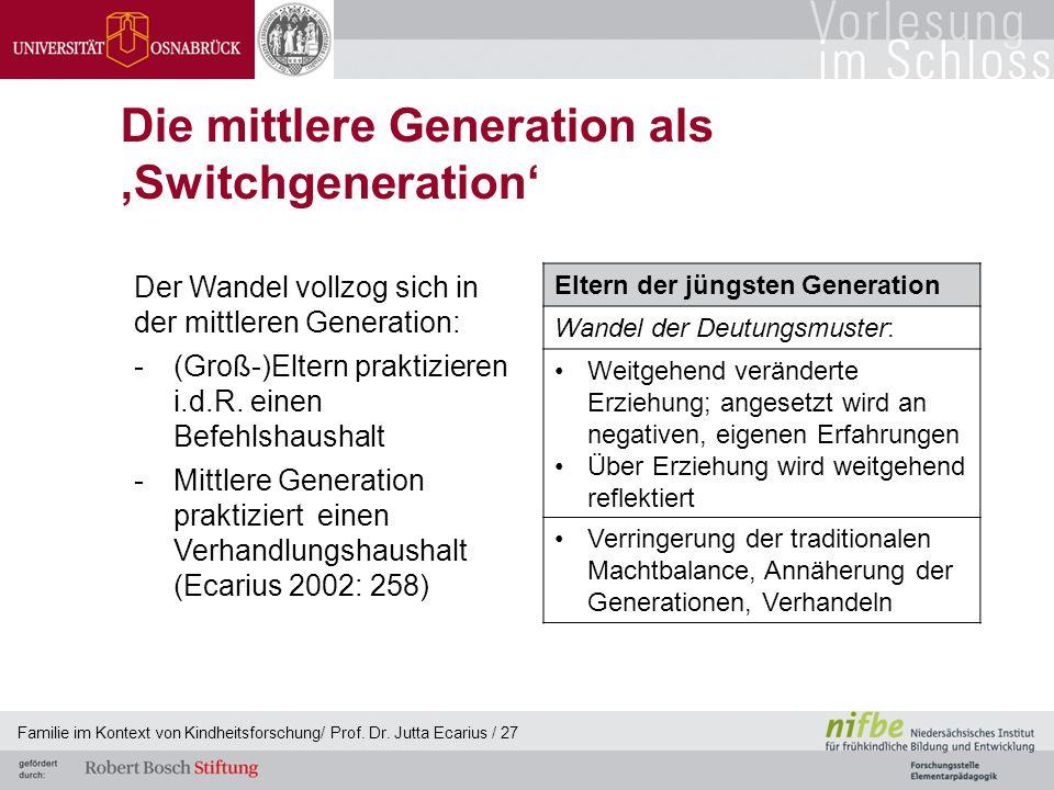 Familie im Kontext von Kindheitsforschung/ Prof. Dr. Jutta Ecarius / 27 Die mittlere Generation als Switchgeneration Der Wandel vollzog sich in der mi