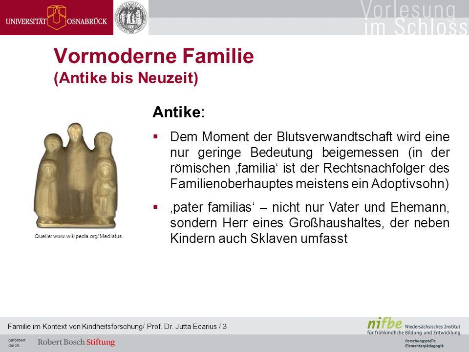 Familie im Kontext von Kindheitsforschung/ Prof. Dr. Jutta Ecarius / 3 Vormoderne Familie (Antike bis Neuzeit) Antike: Dem Moment der Blutsverwandtsch