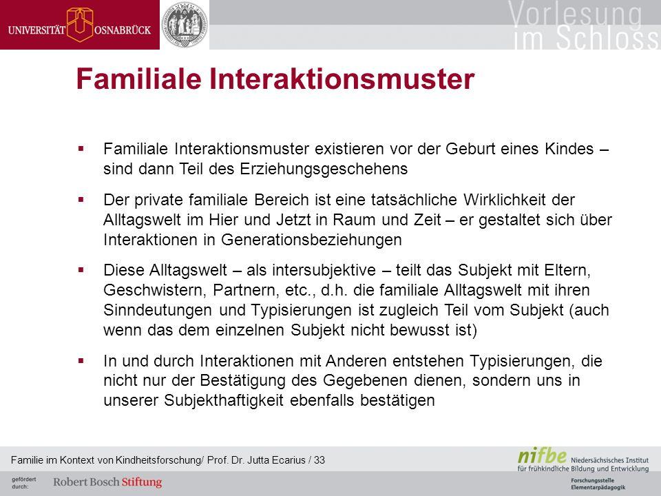 Familie im Kontext von Kindheitsforschung/ Prof. Dr. Jutta Ecarius / 33 Familiale Interaktionsmuster Familiale Interaktionsmuster existieren vor der G