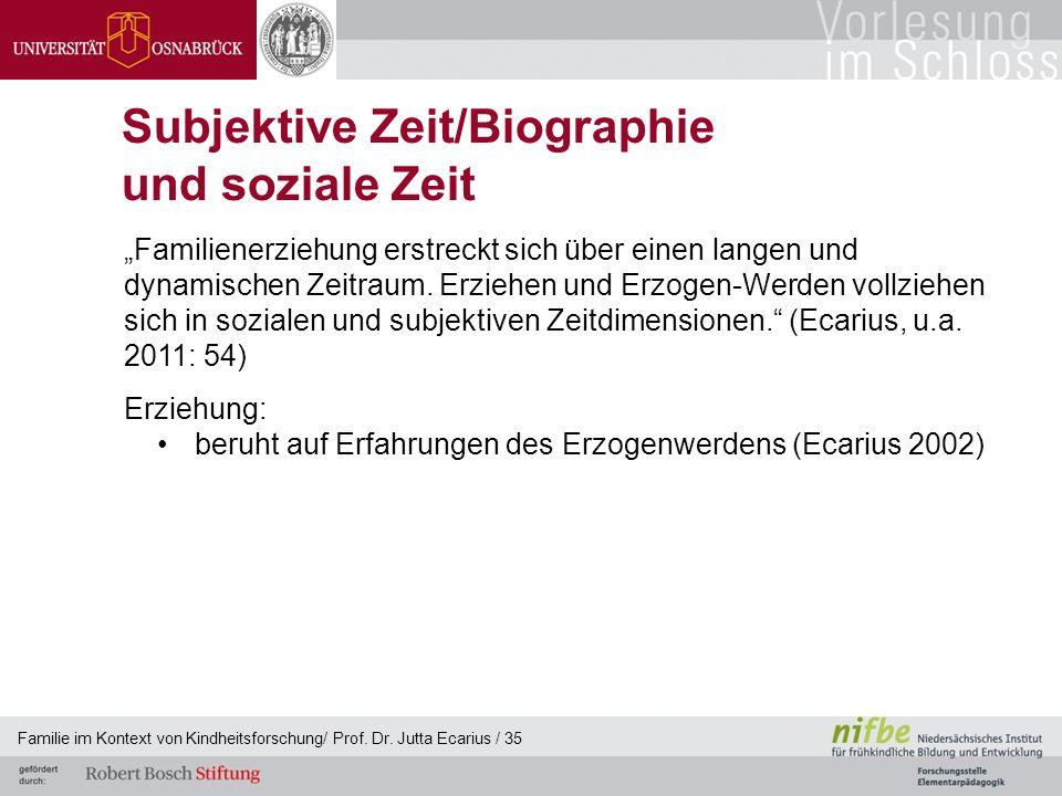 Familie im Kontext von Kindheitsforschung/ Prof. Dr. Jutta Ecarius / 35 Subjektive Zeit/Biographie und soziale Zeit Familienerziehung erstreckt sich ü