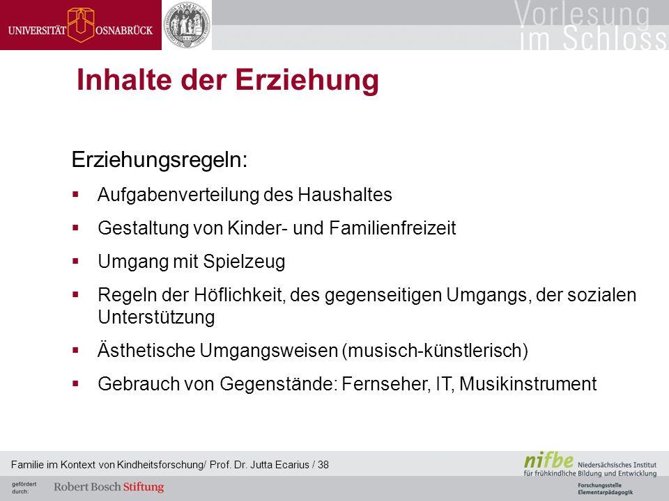 Familie im Kontext von Kindheitsforschung/ Prof. Dr. Jutta Ecarius / 38 Inhalte der Erziehung Erziehungsregeln: Aufgabenverteilung des Haushaltes Gest