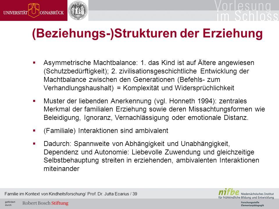 Familie im Kontext von Kindheitsforschung/ Prof. Dr. Jutta Ecarius / 39 (Beziehungs-)Strukturen der Erziehung Asymmetrische Machtbalance: 1. das Kind