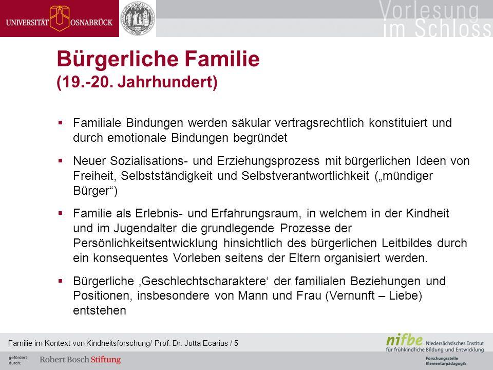Familie im Kontext von Kindheitsforschung/ Prof. Dr. Jutta Ecarius / 5 Bürgerliche Familie (19.-20. Jahrhundert) Familiale Bindungen werden säkular ve