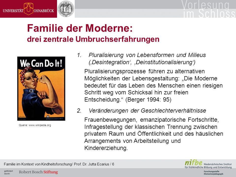 Familie im Kontext von Kindheitsforschung/ Prof. Dr. Jutta Ecarius / 6 Familie der Moderne: drei zentrale Umbruchserfahrungen 1.Pluralisierung von Leb