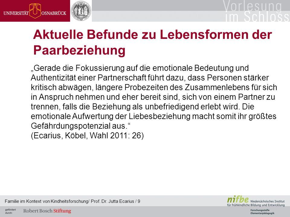 Familie im Kontext von Kindheitsforschung/ Prof. Dr. Jutta Ecarius / 9 Aktuelle Befunde zu Lebensformen der Paarbeziehung Gerade die Fokussierung auf
