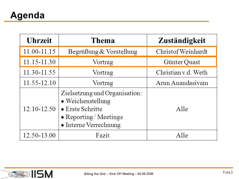 Billing the Grid – Kick Off Meeting – 04.08.2006 Folie 33 Agenda UhrzeitThemaZuständigkeit 11.00-11.15Begrüßung & VorstellungChristof Weinhardt 11.15-11.30VortragGünter Quast 11.30-11.55VortragChristian v.d.