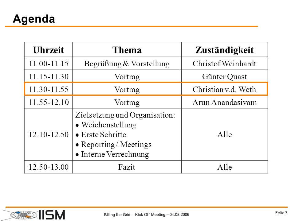 Billing the Grid – Kick Off Meeting – 04.08.2006 Folie 44 Institut X Billing the Grid und KIT Cluster Teilchenphysik RZ Karlsruhe (Juling) RZ FZK (Mickel) Reputations- mechanismen Adaption und Veränderung D-Grid Integrationsprojekt Zeit CERN.