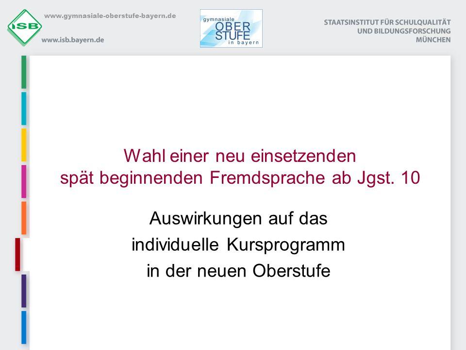 www.gymnasiale-oberstufe-bayern.de Wahl einer neu einsetzenden spät beginnenden Fremdsprache ab Jgst. 10 Auswirkungen auf das individuelle Kursprogram
