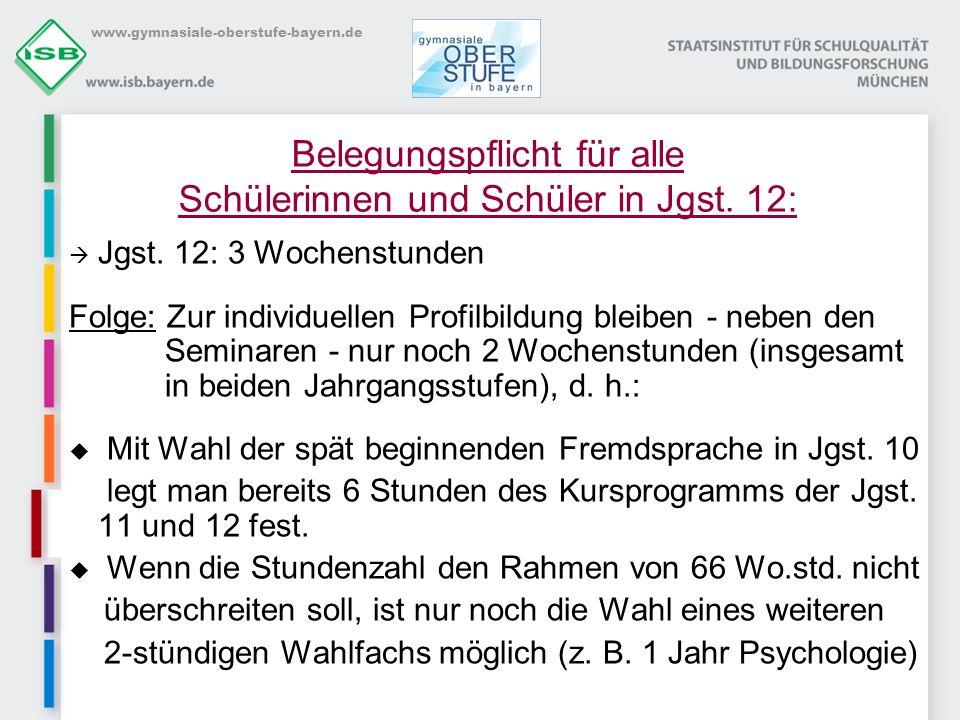 www.gymnasiale-oberstufe-bayern.de Belegungspflicht für alle Schülerinnen und Schüler in Jgst. 12: Jgst. 12: 3 Wochenstunden Folge: Zur individuellen