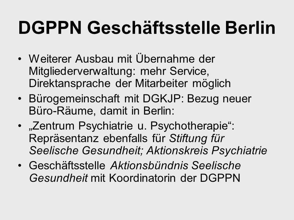 DGPPN Geschäftsstelle Berlin Weiterer Ausbau mit Übernahme der Mitgliederverwaltung: mehr Service, Direktansprache der Mitarbeiter möglich Bürogemeins